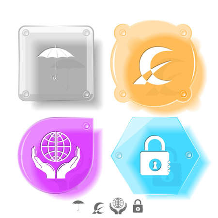 Business icon set. Protection world, closed lock, abstract monetary sign, umbrella.  Glass buttons. Vector illustration. Eps10. illustration