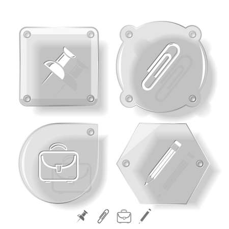 Business icon set. Pencil, clip, briefcase, push pin.  Glass buttons. Vector illustration. Eps10. illustration