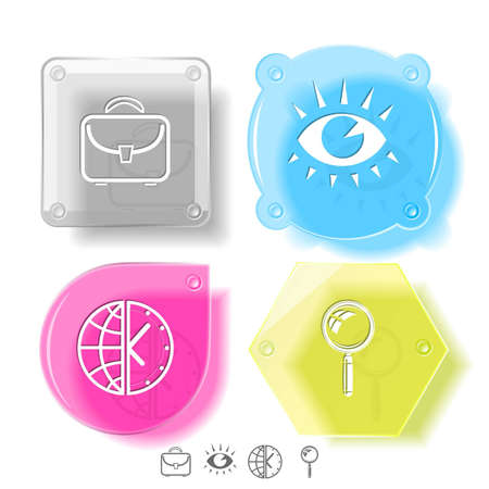 Business icon set. Magnifying glass, globe and clock, briefcase, eye. Glass buttons. Vector illustration. Eps10. Stock Illustration - 12920439