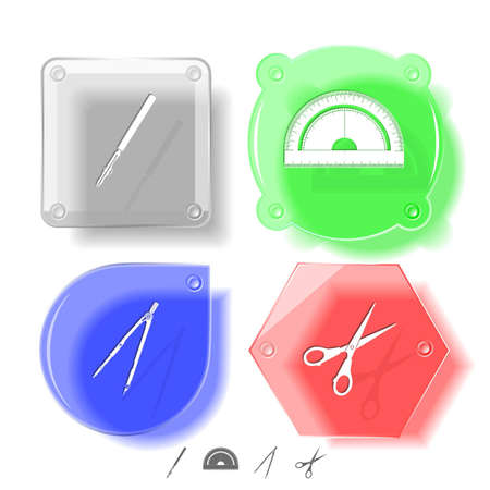 Education icon set. Scissors, ruling pen, protractor, caliper. Glass buttons. Vector illustration. Eps10. illustration