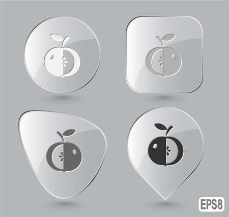 Apple. Glass buttons. Vector illustration. illustration