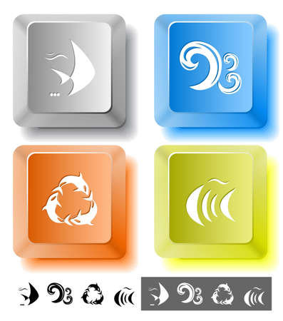 spawn: Animal icon set. Killer whale, fish, wave.  Computer keys. Vector illustration.