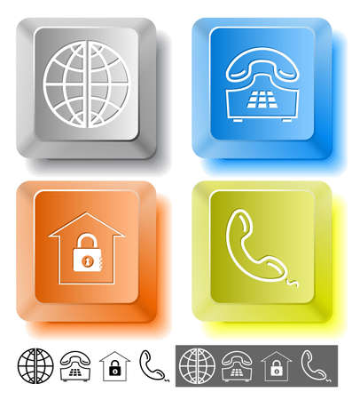 Business icon set. Globe, handset, push-button telephone, bank.  Computer keys. Vector illustration. illustration