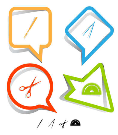 Education icon set. Scissors, ruling pen, protractor, caliper. Paper stickers. Vector illustration. illustration