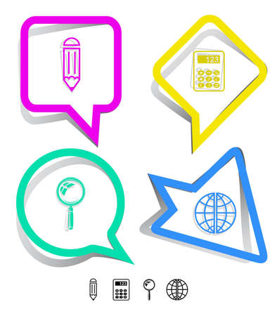Education icon set. Magnifying glass, globe, calculator, pencil. Paper stickers. Vector illustration. illustration