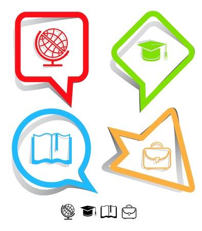 교육 아이콘을 설정합니다. 졸업 모자, 책, 서류 가방, 글로브. 종이 스티커. 벡터 일러스트 레이 션. 스톡 콘텐츠