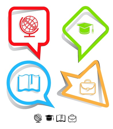 Education icon set. Graduation cap, book, briefcase, globe. Paper stickers. Vector illustration.