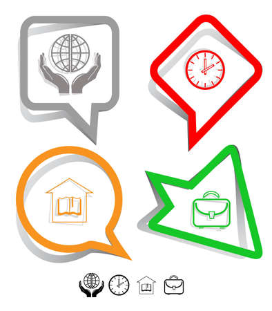 Education icon set. Protection world, clock, briefcase, library. Paper stickers. Vector illustration. illustration