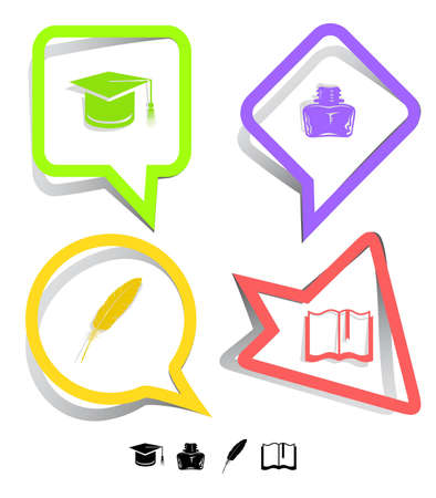 inkstand: Education icon set. Graduation cap, book, inkstand, feather. Paper stickers. Vector illustration.