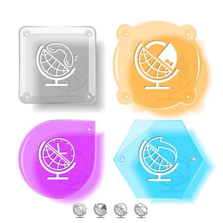 Business icon set. Globe and arrow, globe and clock, globe and lock, globe and handset.  Glass buttons. Vector illustration. Eps10. Stock Illustration - 12920535