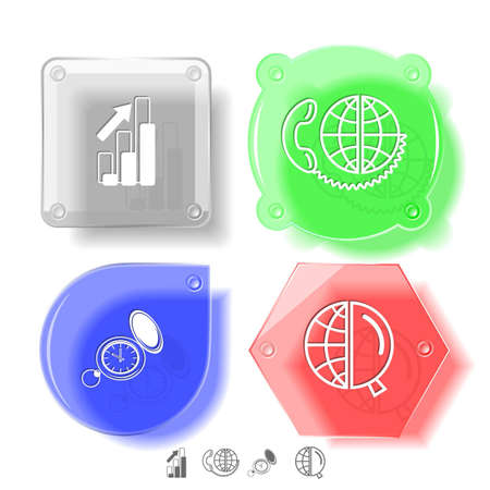 Business icon set. Global communication, watch, globe and magnifying glass, diagram. Glass buttons. Vector illustration. Eps10. illustration