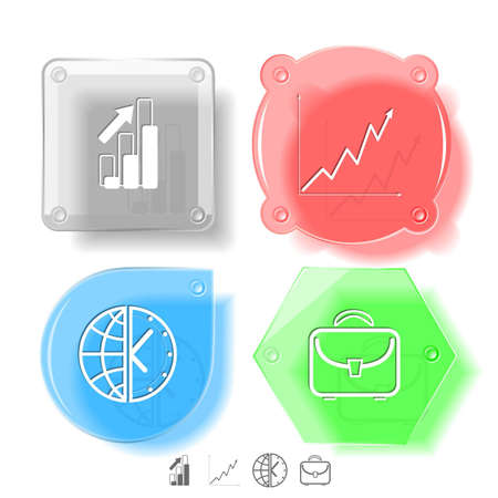 Business icon set. Briefcase, globe and clock, diagram. Glass buttons. Vector illustration. Eps10. Stock Illustration - 12920509