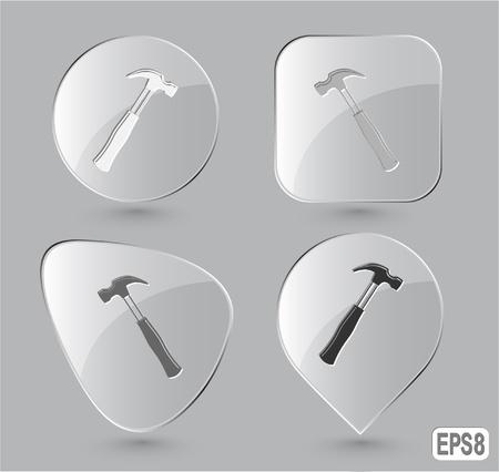 Hammer. Glass buttons. Vector illustration. illustration