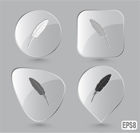 Feather. Glass buttons. Vector illustration. Stock Illustration - 12920563