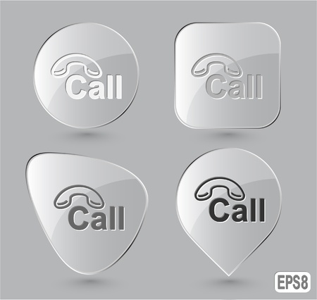Hotline. Glass buttons. Vector illustration. Stock Illustration - 12920567