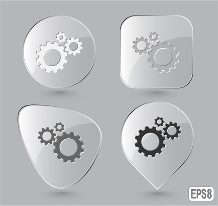 Gears. Glass buttons. Vector illustration. illustration