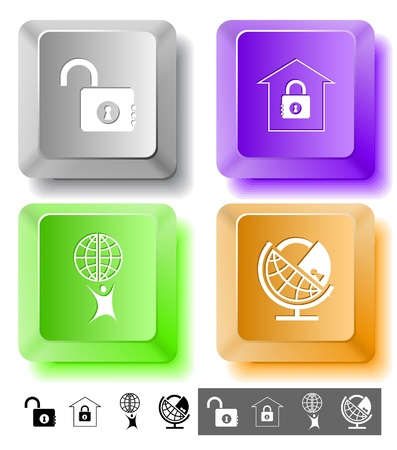lock up: Business icon set. Little man with globe, globe and lock, bank, opened lock. Computer keys. Vector illustration. Stock Photo