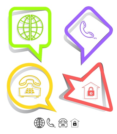 Business icon set. Globe, handset, push-button telephone, bank.  Paper stickers. Vector illustration. illustration