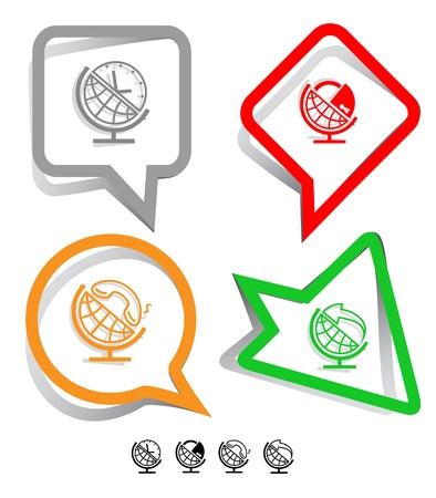 Business icon set. Globe and arrow, globe and clock, globe and lock, globe and handset.  Paper stickers. Vector illustration. illustration