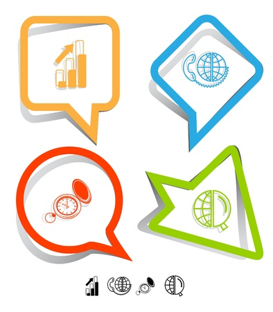 Business icon set. Global communication, watch, globe and magnifying glass, diagram. Paper stickers. Vector illustration. illustration