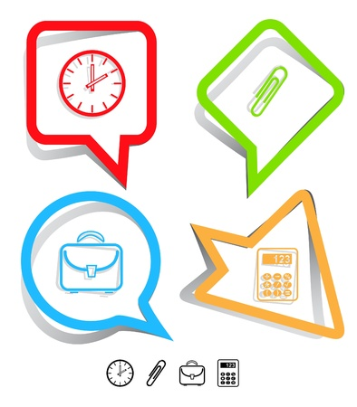 Business icon set. Clip, calculator, briefcase, clock.  Paper stickers. Vector illustration. illustration