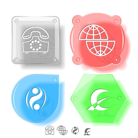 Business icon set. Shift globe, abstract monetary sign, old phone, percent sign.  Glass buttons. Vector illustration. Eps10. illustration