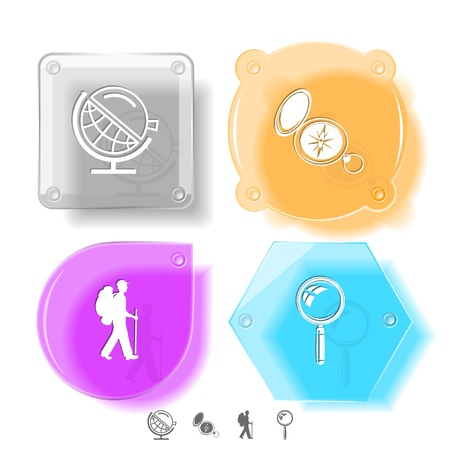 lookup: Education icon set. Magnifying glass, compass, traveller, globe and loupe. Glass buttons. Vector illustration. Eps10.