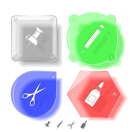 Education icon set. Push pin, pencil, scissors, glue bottle. Glass buttons. Vector illustration. Eps10. illustration