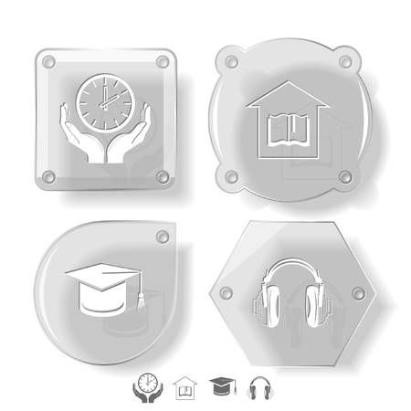 Education icon set. Headphones, clock in hands, graduation cap, library. Glass buttons. Vector illustration. Eps10. illustration