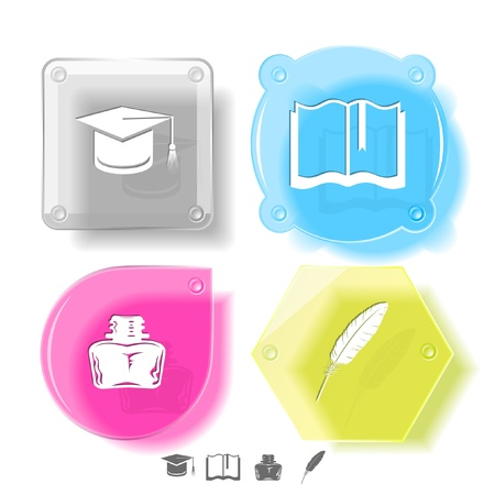 Education icon set. Graduation cap, book, inkstand, feather. Glass buttons. Vector illustration. Eps10. illustration