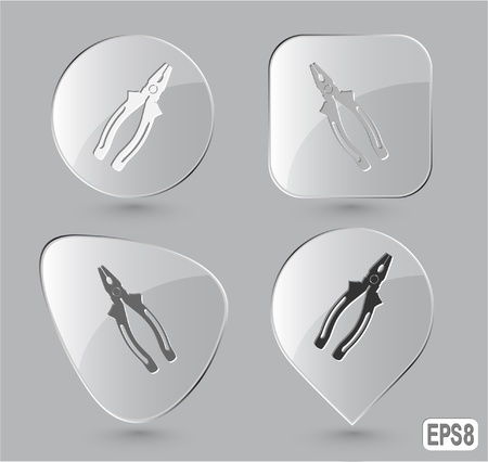 pinchers: Combination pliers. Glass buttons. Stock Photo