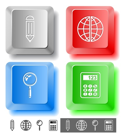 lookup: Education icon set. Magnifying glass, globe, calculator, pencil. Computer keys.