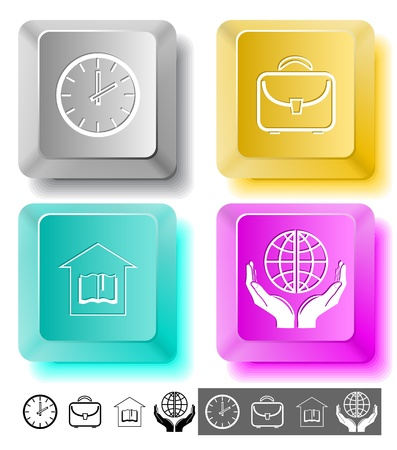 Education icon set. Protection world, clock, briefcase, library. Computer keys. photo