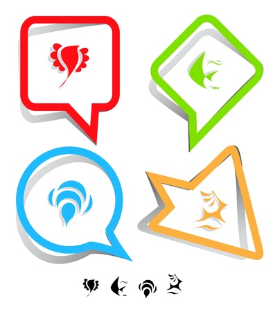 spawn: Animal icon set. Deer, bird, bee, fish.  Paper stickers.  Stock Photo