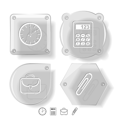 Business icon set. Clip, calculator, briefcase, clock.  Glass buttons. Stock Photo - 13496283