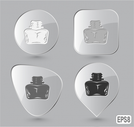 inkstand: Inkstand. Glass buttons. Vector illustration.