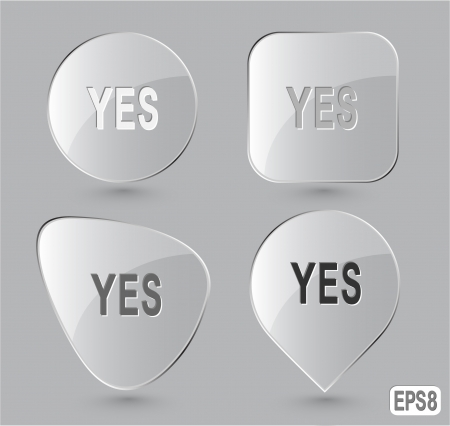 Yes. Glass buttons. Vector illustration. Stock Illustration - 14404545