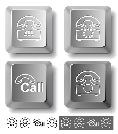 Business icon set. Hotline, old phone, push-button telephone. Computer keys. Vector illustration. illustration