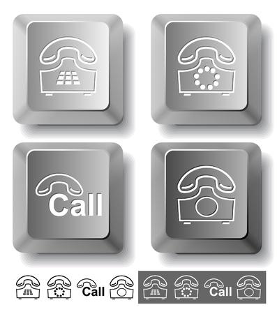 Business icon set. Hotline, old phone, push-button telephone. Computer keys. Vector illustration. illustration
