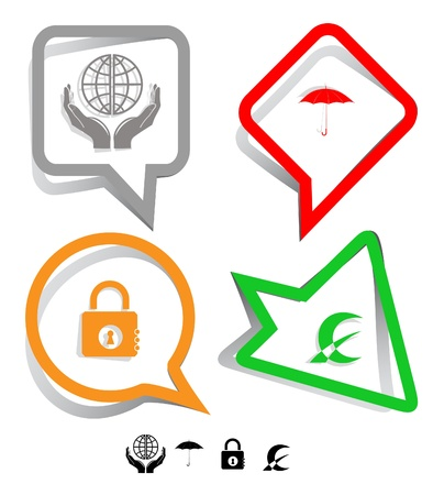 Business icon set. Protection world, closed lock, abstract monetary sign, umbrella.  Paper stickers. Vector illustration. illustration