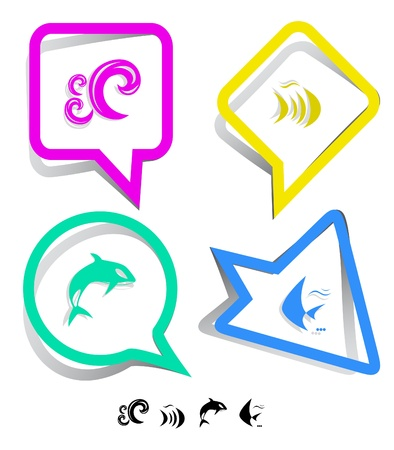 spawn: Animal icon set. Fish, Killer whale, wave.  Paper stickers. Vector illustration. Stock Photo
