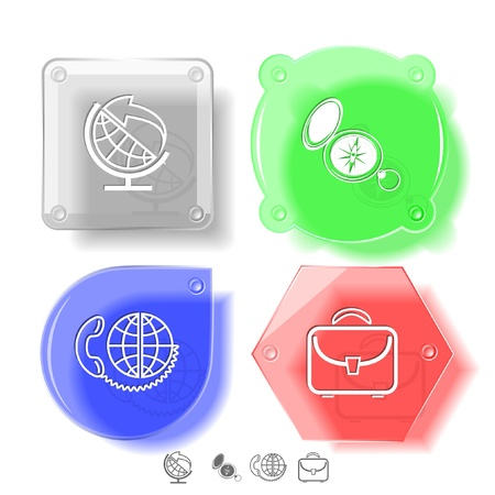 Business icon set. Globe and arrow, compass, briefcase, global communication.  Glass buttons. Vector illustration.  Stock Illustration - 14404555