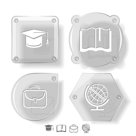 Education icon set. Graduation cap, book, briefcase, globe. Glass buttons. Stock Photo - 15404735