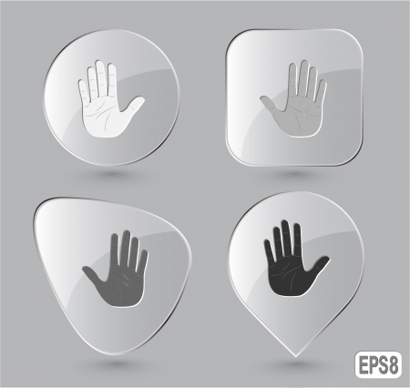 clipart wrinkles: Stop hand Glass buttons Stock Photo