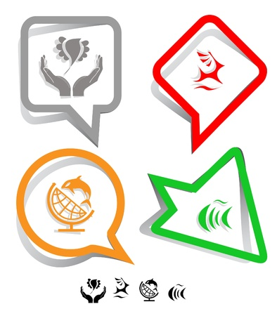 Animal icon set. Deer, fish, bird in hands, globe and shamoo.  Paper stickers.  photo