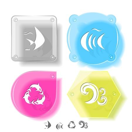 spawn: Animal icon set. Killer whale, fish, wave.  Glass buttons.