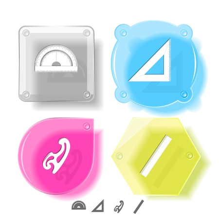 mould: Education icon set. French curve, ruler, triangle ruler, protractor. Glass buttons.