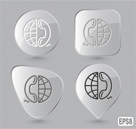 Globe and phone. Glass buttons. Vector illustration. Stock Illustration - 15450699