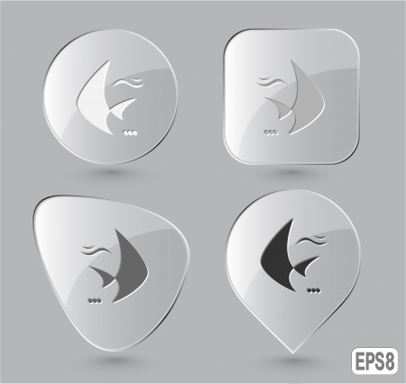 spawn: Fish. Glass buttons. Vector illustration.