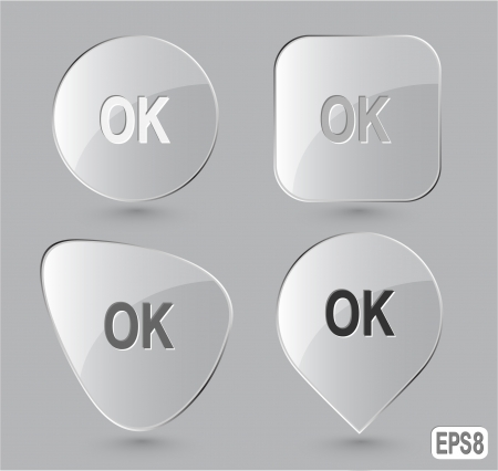 Ok. Glass buttons. Vector illustration. Stock Illustration - 15450681
